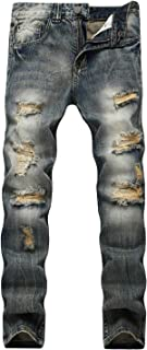 Men's Ripped Jeans Straight Skinny Distressed Destroyed Biker Moto Demin Pants