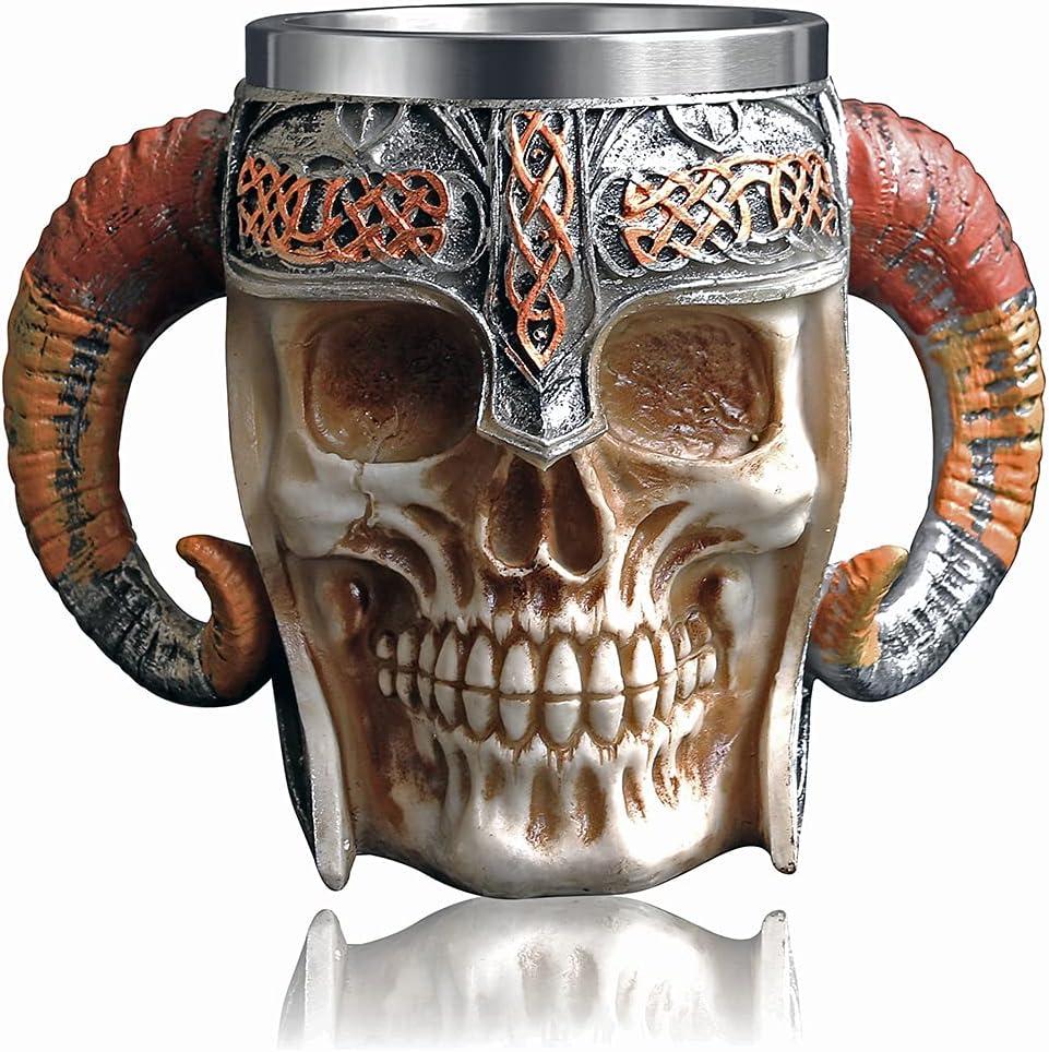 OTARTU Viking Warrior Skull Mug con forro de acero inoxidable, Medieval Ram Skull Beer Stein Jarra Taza de café 500ML