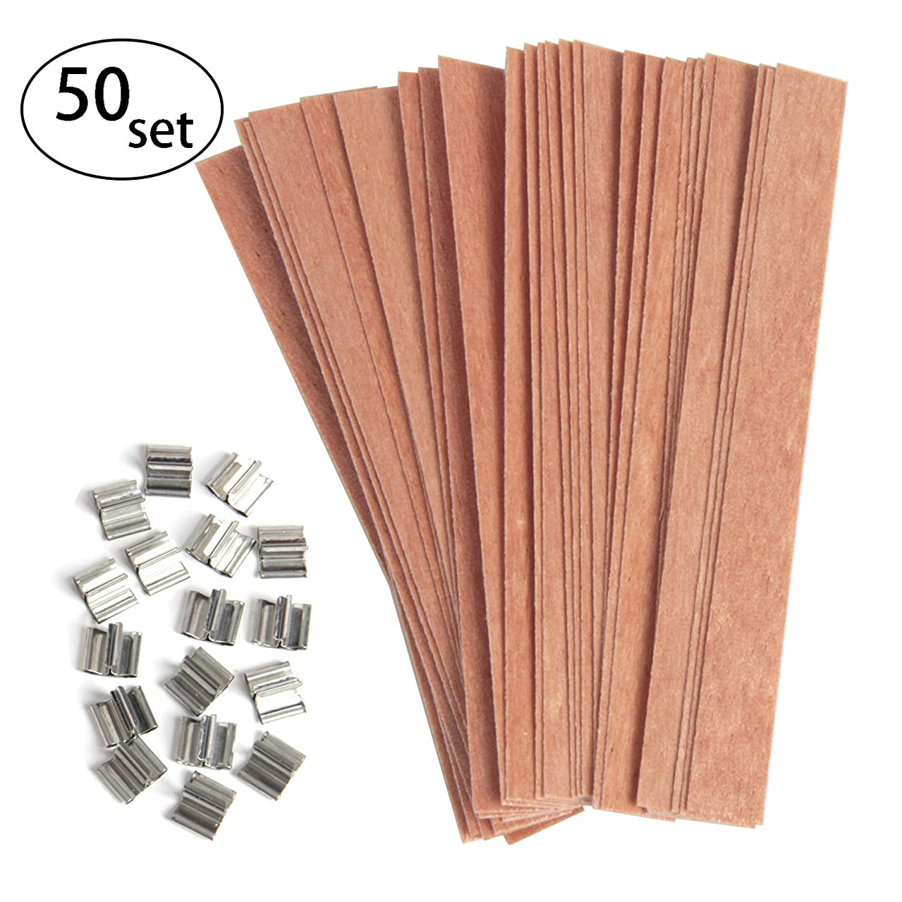 Hapy Shop 50 Pieces Wood Candle Wicks with Iron Stand Natural Environmental-Friendly Wick Candle Cores for Candle Making and Candle DIY(13x1.3cm / 5.1x0.5inch)
