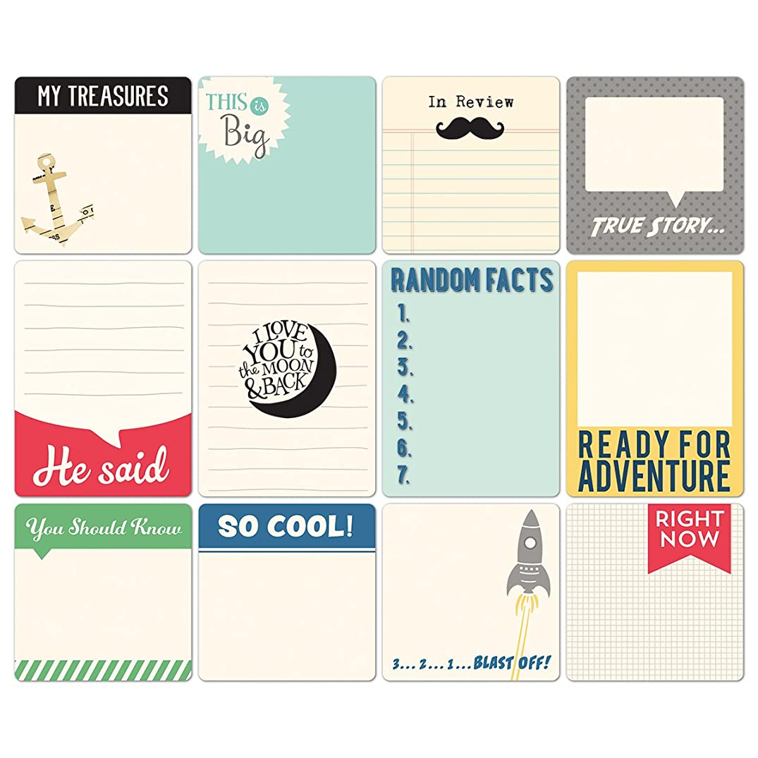 October Afternoon Daily Flash All Boy Cardstock Die Cuts, Memory Cards, 12-Pack