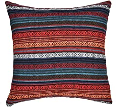 Merrycolor Tribal Throw Pillow Cushion Cover Retro Stripe Cotton Blend Linen Pillow Case Bohemian Decorative Pillowcase for Sofa Couch 18x18 Inch Red (Only Pillow Cover)