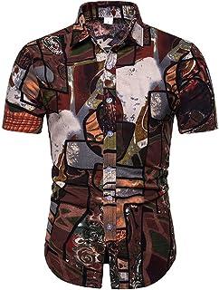Xmiral T-Shirt Camicia Hawaiana Uomo Manica Corta #20201225#
