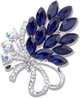 Karlota Women Crystal Colorful Wedding brooches pins Girls Fashion Rhinestone Safety Flower Jewelry pins Ladies Party Eleg...
