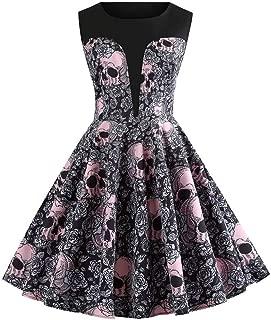 TOTOD Dress for Women, Fashion Women's Vintage Christmas Print Minidress Sleeveless Elegant Party Costume