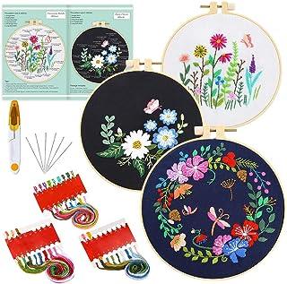 Pllieay - 3 juegos de bordar con patrones e instrucciones (idioma español no garantizado), incluye tela de bordado con patrón floral, 3 aros de plástico para bordar, hilos de colores y herramientas