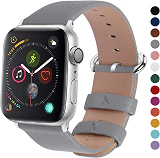 Fullmosa Compatible Apple Watch Band 42mm 44mm 40mm 38mm Leather Compatible iWatch Band/Strap Compatible Apple Watch Series 5 4 3 2 1, 42mm 44mm Grey