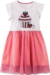 JinBei Vestidos Bebe Niña Algodon Casual Verano Rosa Manga Corta Vestido Lentejuelas Tul Fiesta Diario Sudadera Camiseta V...