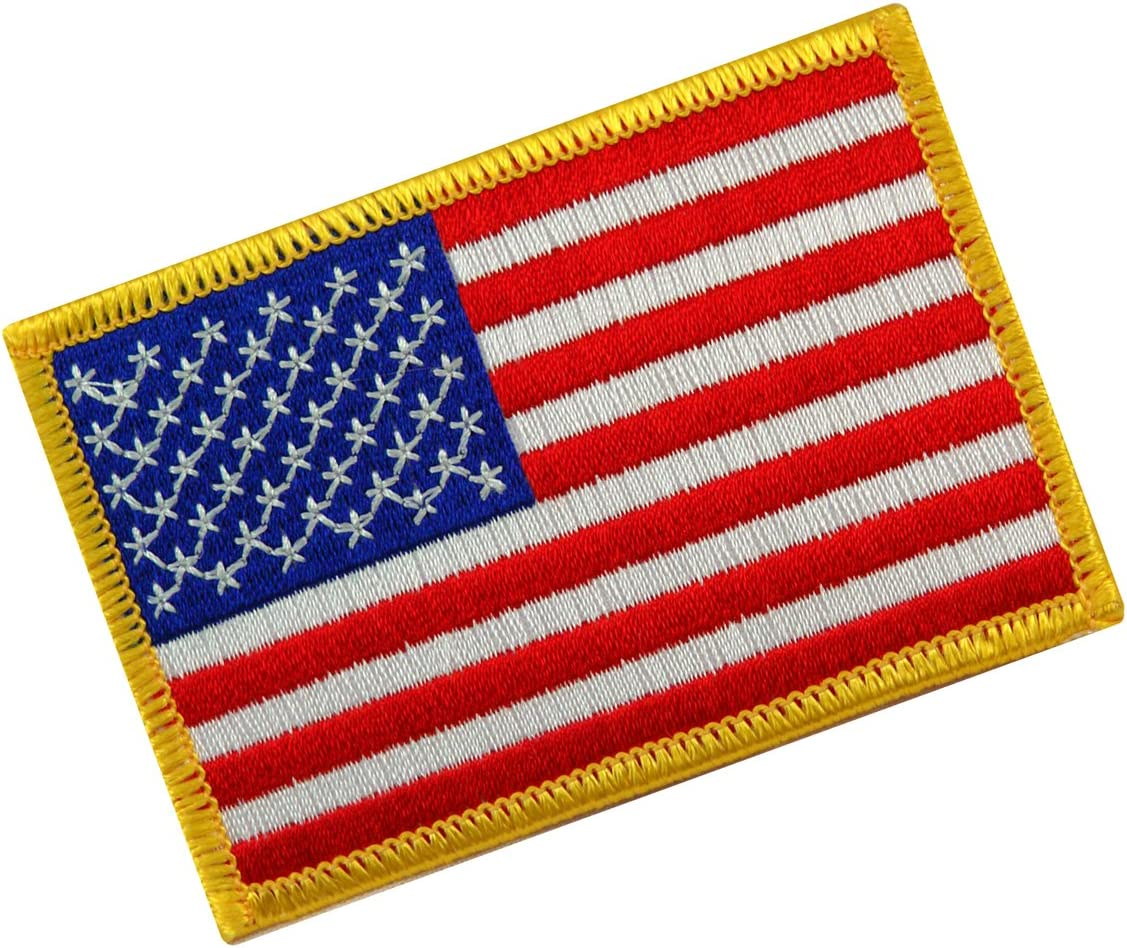 American Flag supreme Embroidered Tactical Patch w Velcro Gold Cheap mail order shopping Border B