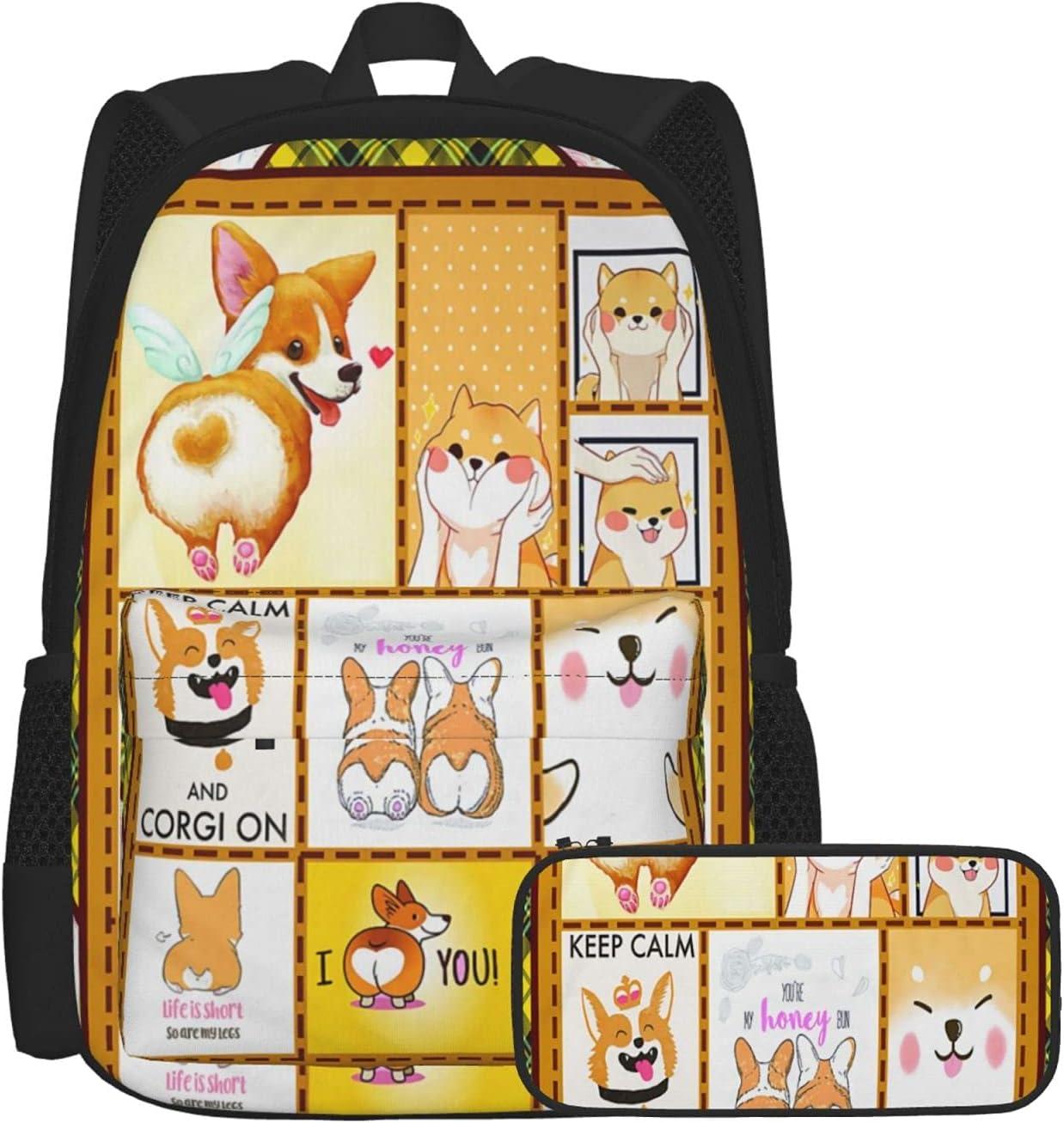 OYQGEJGPJA 2 Piece Set Keep Calm and Backpack Bag L Corgi School Virginia Beach Gifts Mall