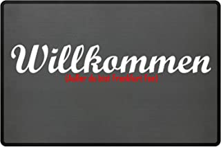 PlimPlom Fußmatte Anti Frankfurt in grau - Lustige Fußball Schmutzfangmatte mit Statement für Dein Zuhause aus Polypropylen mit Rutschfester Unterseite