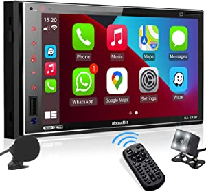 aboutBit Car Stereo with Apple Carplay : 7 Inch Double Din Bluetooth Car Radio Receiver – HD IPS Capacitive Touchscreen, Phone Link, Backup Camera, USB/SD, A/V Input, AM/FM, Steering Wheel, Subwoofer