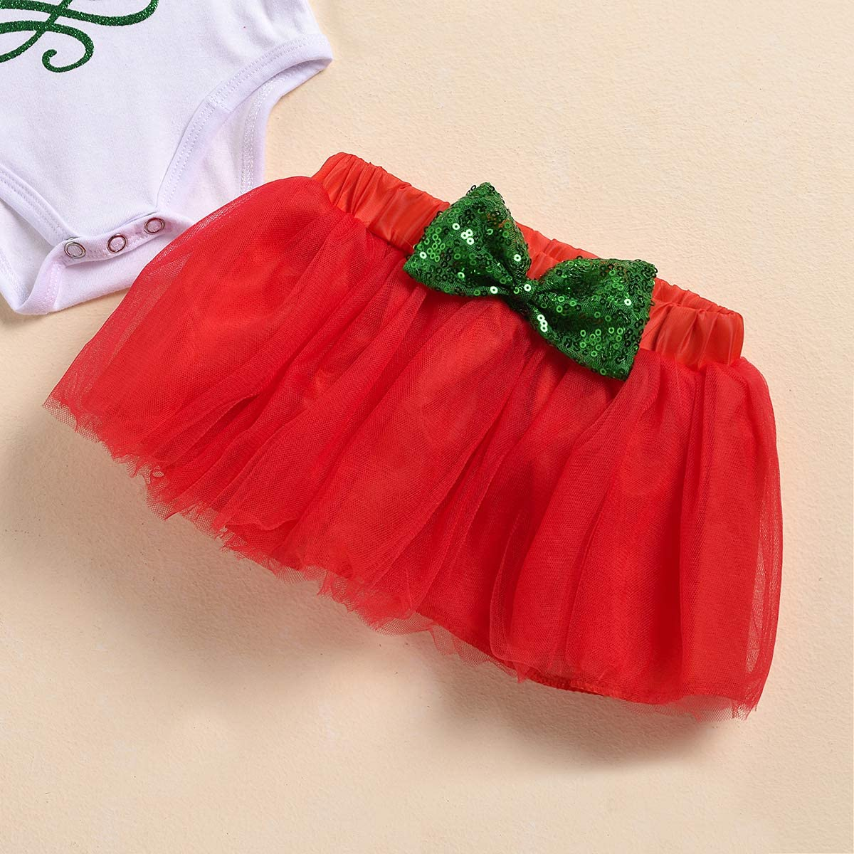 Newborn Toddler Girl Xmas Clothes My 1st Christmas Romper Bowtie Mesh Tutu Skirt+Sequins Bow+Striped Leg Warmers Outfits