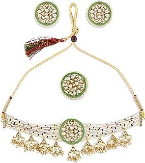 Zaveri Pearls Multicolor Beaded Ethnic Kundan Choker Necklace Earring & Ring Set For Women-ZPFK10833