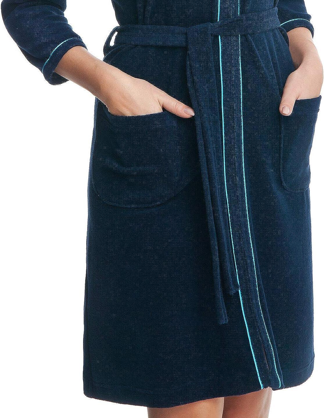 DOROTA Trendiger und gemütlicher Damen Baumwoll-Bademantel, Made in EU, Verschiedene Ausführungen Dunkelblau