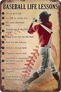 Yuantao Baseball Life Lessons Never Give Up Funny Tin Sign Bar Pub Diner Cafe Wall Decor Home Decor Art Poster Retro Vintage 8x12 Inches