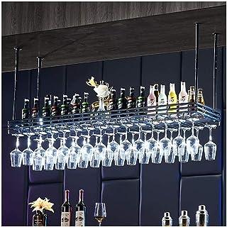 HZWLF Gobelet Porte-Verre à vin, décoration de la Maison à l'envers Suspendue étagère de Barre créative européenne, Porte-...