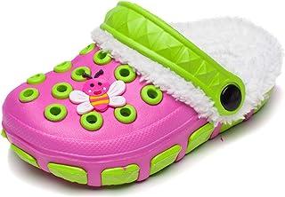 CELANDA Kids Winter Lined Clogs Boys Girls Warm Slippers Soft Plush Garden Shoes Slip On Slippers Indoor Outdoor