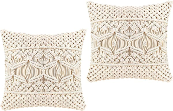 Mkono Throw Pillow Cover Macrame Cushion Case Pillow Inserts Not Included Set Of 2 Decorative Pillowcase For Bed Sofa Couch Bench Car Boho Home Decor 17 Inches