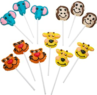Kicko 2 Inch Zoo Animal Lollipops - Pack of 12 Assorted Fruit-Flavored Candy Suckers for Party Favors, Cake Decorations, Novelty Supplies or Treats for Halloween, Christmas, Baby Showers