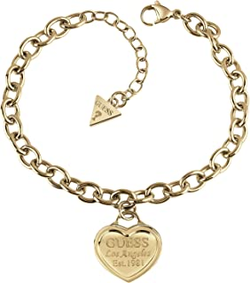 Guess UBB28018-S Stainless Steel Engraved Heart Charm Link Bracelet for Women - Gold