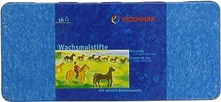 Stockmar 32000 Wachsmalstifte 16 Stifte, wasserfest, papergewickelt, aus Bienenwachs, im Blechetui