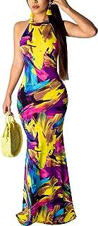 Women's Sleeveless Halter Neck Hollow Out Vintage Floral Print Party Beach Evening Long Maxi Dress