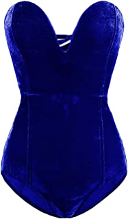 Women Burgundy Bandeau Back Lace up Velvet Bodysuit