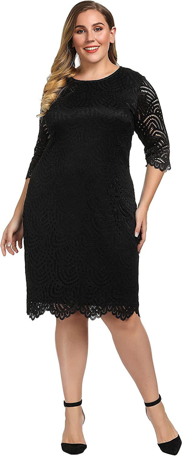 Chicwe Women's Stretch Lined Plus Size Lace Shift Dress Knee Length with Scalloped Hem and Cuff