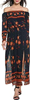 Zeagoo Women Sexy Off Shoulder Bohemia Floral Print High Slit Maxi Beach Dress