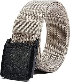 Men's Nylon Belt, Military Tactical Belts Breathable Webbing Canvas Belt with Plastic Buckle for Pants Size Below 46