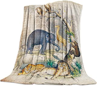 BMALL Lightweight Flannel Traveling Throw Blankets Animals in Forest Wildlife Old Newspapers Paper Art Print Easy Care - A...