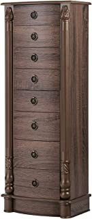 CHARMAID Large Standing Jewelry Armoire Cabinet Chest with 7 Drawers, 2 Side Swing Door with 12 Necklace Hooks, Jewelry Box Storage Organizer with Top Flip Mirror, Retro Standing Wood Jewelry Cabinet