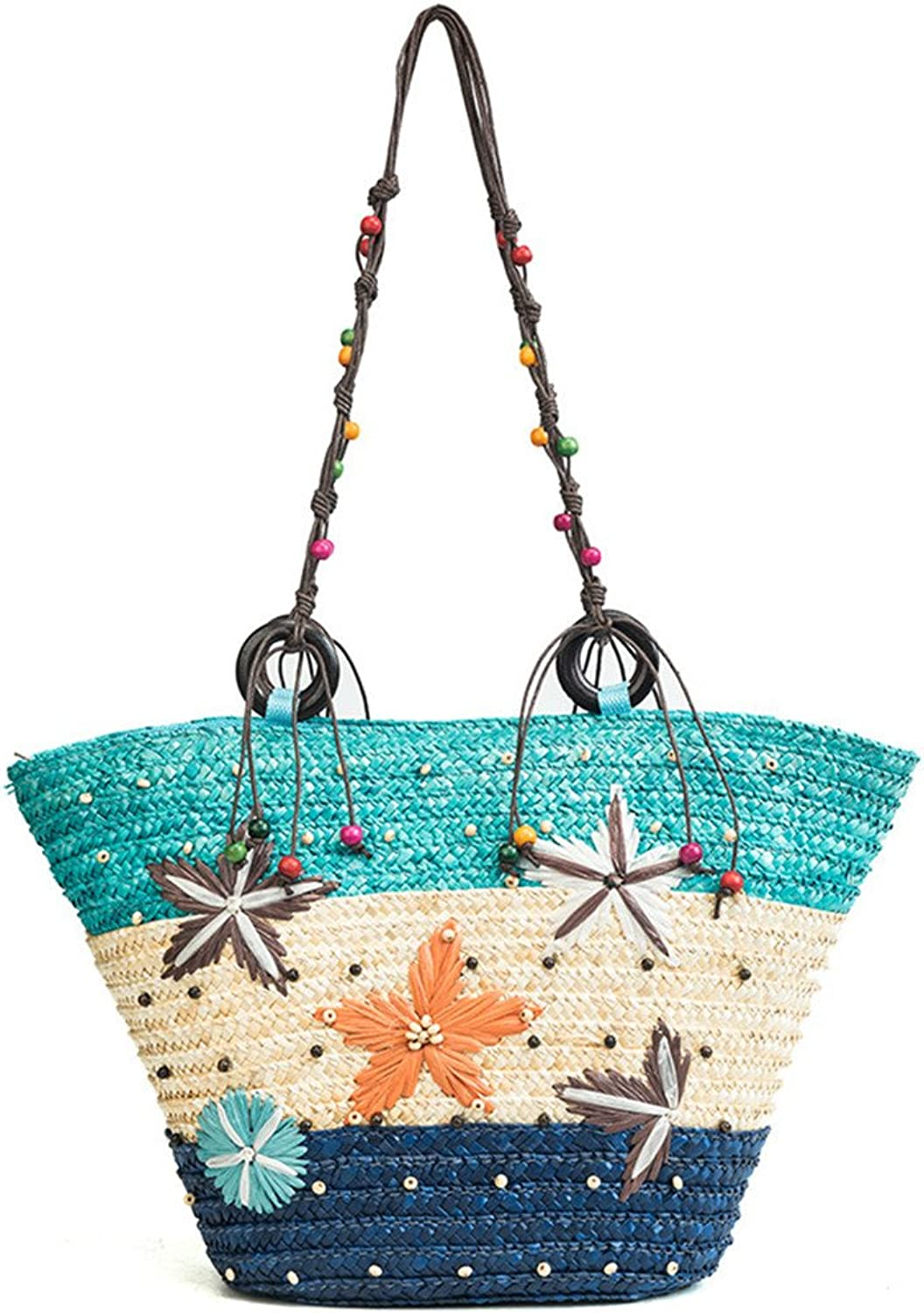 FTSUCQ Floral Handmade Crochet Straw Woven Shoulder Handbags Tote Beach Bag Satchels