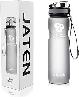 JATEN 1-Click Open Leak Proof Flip Top Lid Sports Water Bottle, Grey (32 OZ)