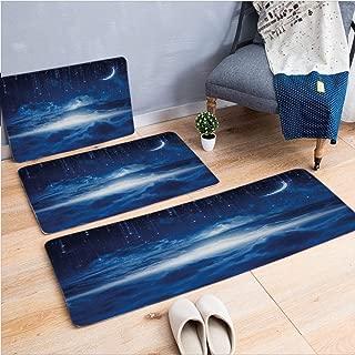 3 Piece Non-Slip Doormat 3d print for Door mat living room kitchen absorbent kitchen mat,View Falling Stars Celestial Magical Cosmos,15.7