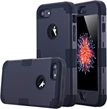 LONTECT Hybrid Heavy Duty Shockproof Full-Body Protective Case with Dual Layer Hard PC+ Soft Silicone Impact Protection for Apple iPhone 7, Black