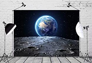 BELECO 7x5ft Outer Space Backdrop Blue Earth Seen from The Moon Surfac Furnished by NASA Planet Photography Backdrop for Birthday Party Decoration Photoshoot Photo Background Props