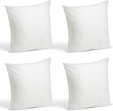 Foamily Throw Pillows Insert Set of 4-18 x 18 Insert for Decorative Pillow Covers - Made in USA - Bed and Couch Pillows