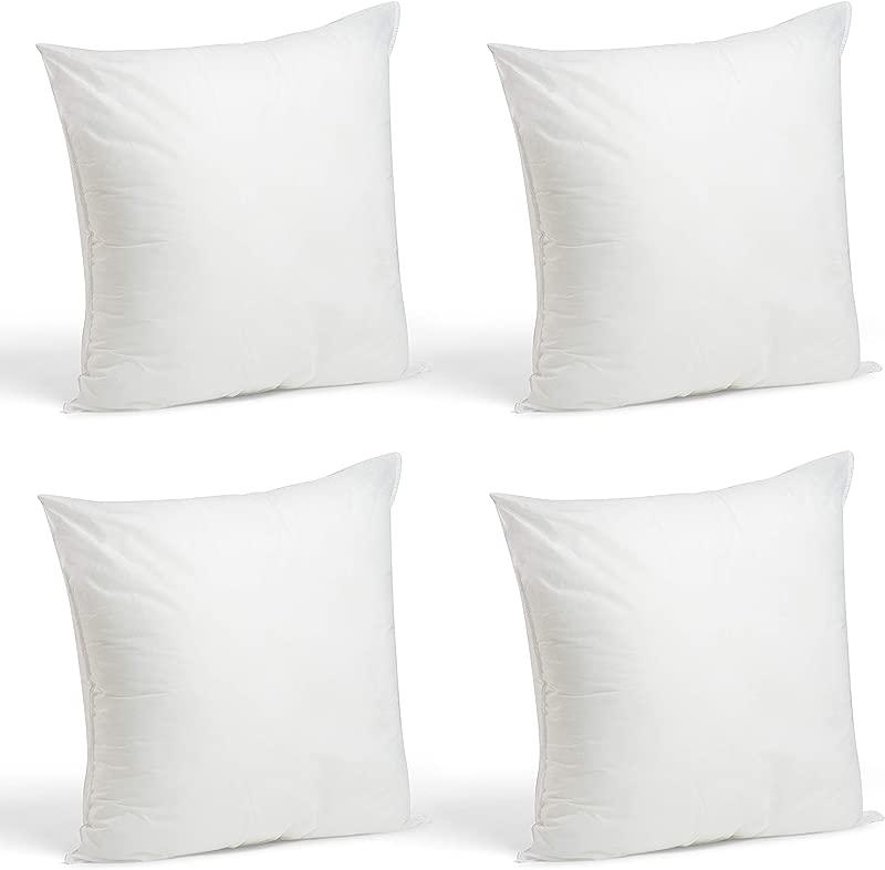 Foamily Set Of 4 18 X 18 Premium Hypoallergenic Stuffer Pillow Inserts Sham Square Form Polyester 18 L X 18 W Standard White