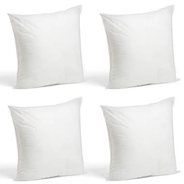 Foamily Set of 4-18 x 18 Premium Hypoallergenic Stuffer Pillow Inserts Sham Square Form Polyester, 18  L X 18  W, Standard/White