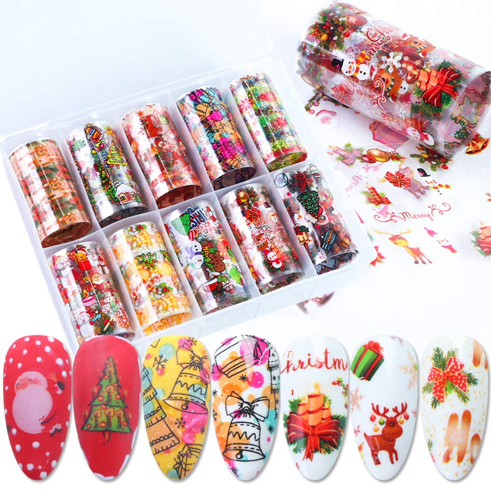 Macute Christmas Nail Art Foil Transfers Stickers Winter Series Nail Supplies Foils 10 Rolls Snowman Santa Claus Sugar Bell Snowflake Nail Decals for Christmas Party Favors Gifts Manicure Decorations