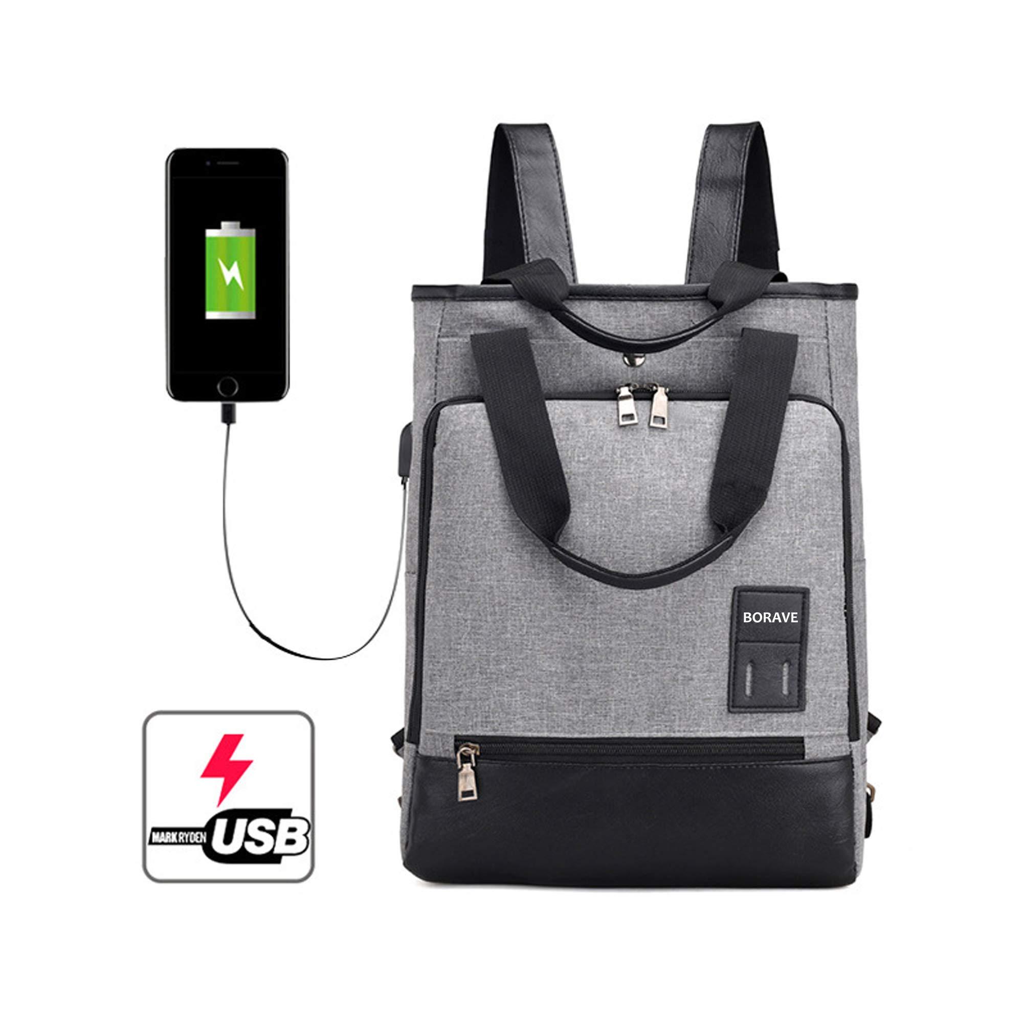 Borave 尼龙 3 合 1 Carring's Method Usb 背包,单肩包 B 背包手包,男女皆宜,20-35 升大包带双拉链,学生包和笔记本电脑包,灰色USB-bag-001 15.6'