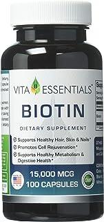 Vita Essentials Biotin 15000 Mcg Capsules, 100 Count