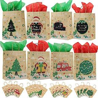 Viccess 16 pezzi Sacchetti di Natale con Maniglia Sacchetti Regalo di Natale Sacchetti Regalo Carta Kraft per Feste di Nat...