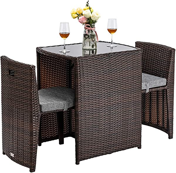Bonnlo 3 PCS Outdoor Wicker Patio Set Rattan Bistro Set With Glass Top Table Cushioned Chairs Patio Convention Set Dining Table Set For Garden Yard Porch Space Saving Design