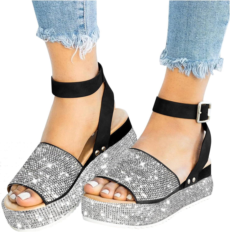 Platform Wedges Sandal Women's Summer Flat Round Toe Sandals Out