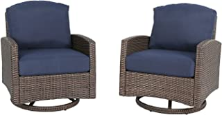 Iwicker 2 Piece Outdoor Swivel Wicker Club Chairs with 100% Polyester Cushions, Navy Blue