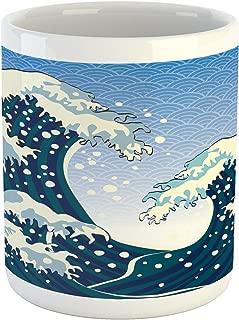 Ambesonne Japanese Wave Mug, Far Eastern Painting Oceanic Storm Theme Tsunami Wind Water Artwork, Ceramic Coffee Mug Cup for Water Tea Drinks, 11 oz, Teal White