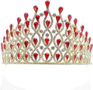 Corona, Festa Nuziale Damigella d'Onore Copricapo Strass Corolla (Color : Red)