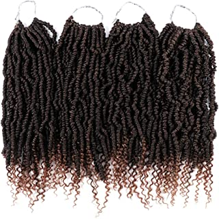 Passion Twist Crochet Hair 4 Pack/Lot Pre-twisted Synthetic Crochet Braids 14 Inch Fluffy Spring Twist Crochet Hair with Curl End (T1B/30#)